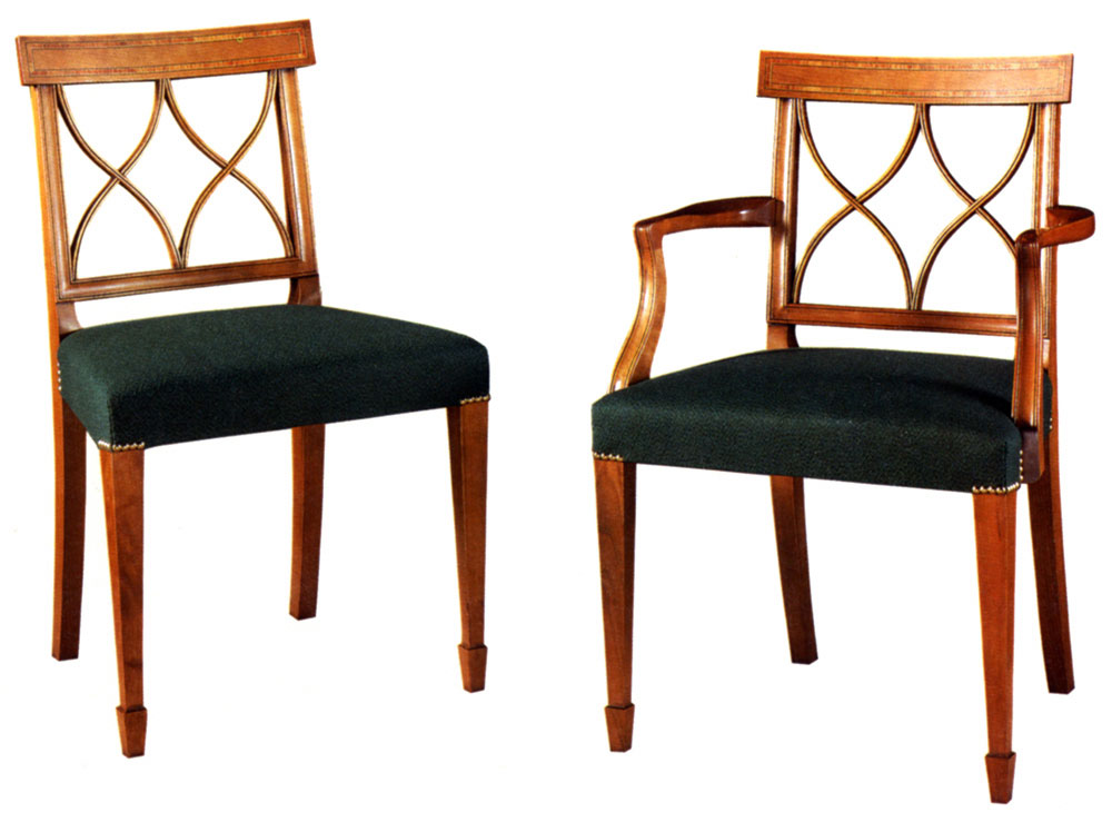 Sheraton Style Fruitwood Inlaid Dining Chair